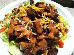 Brisket salad with spicy BBQ ranch dressing