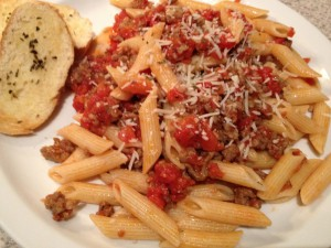 Spicy Italian sausage with penne pasta