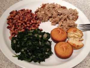 A Southern new year with corn bread, black eyed peas, spinach and BBQ