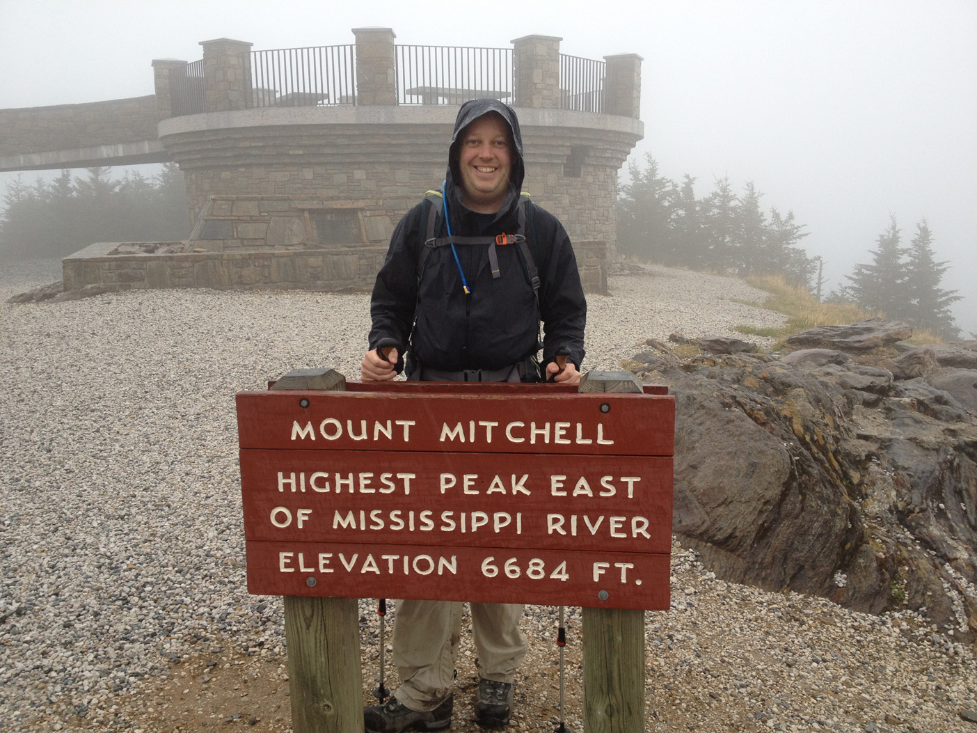 Mount Mitchell summit at 6684'!! This is the 6th of 6 of the 6000'+ peak we hit on the Black Mountain Crest Trail.