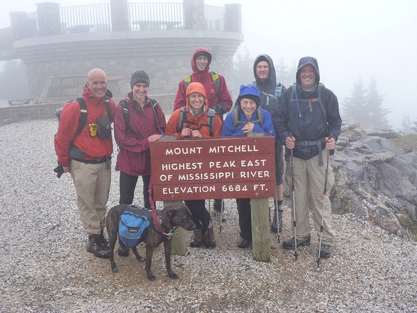 Group at the summit of Mount Mitchell! (from left to right: Tomas, Janice, Niki (dog), Ashton, Omar, Amy, David B., me) Photo by Ashton.