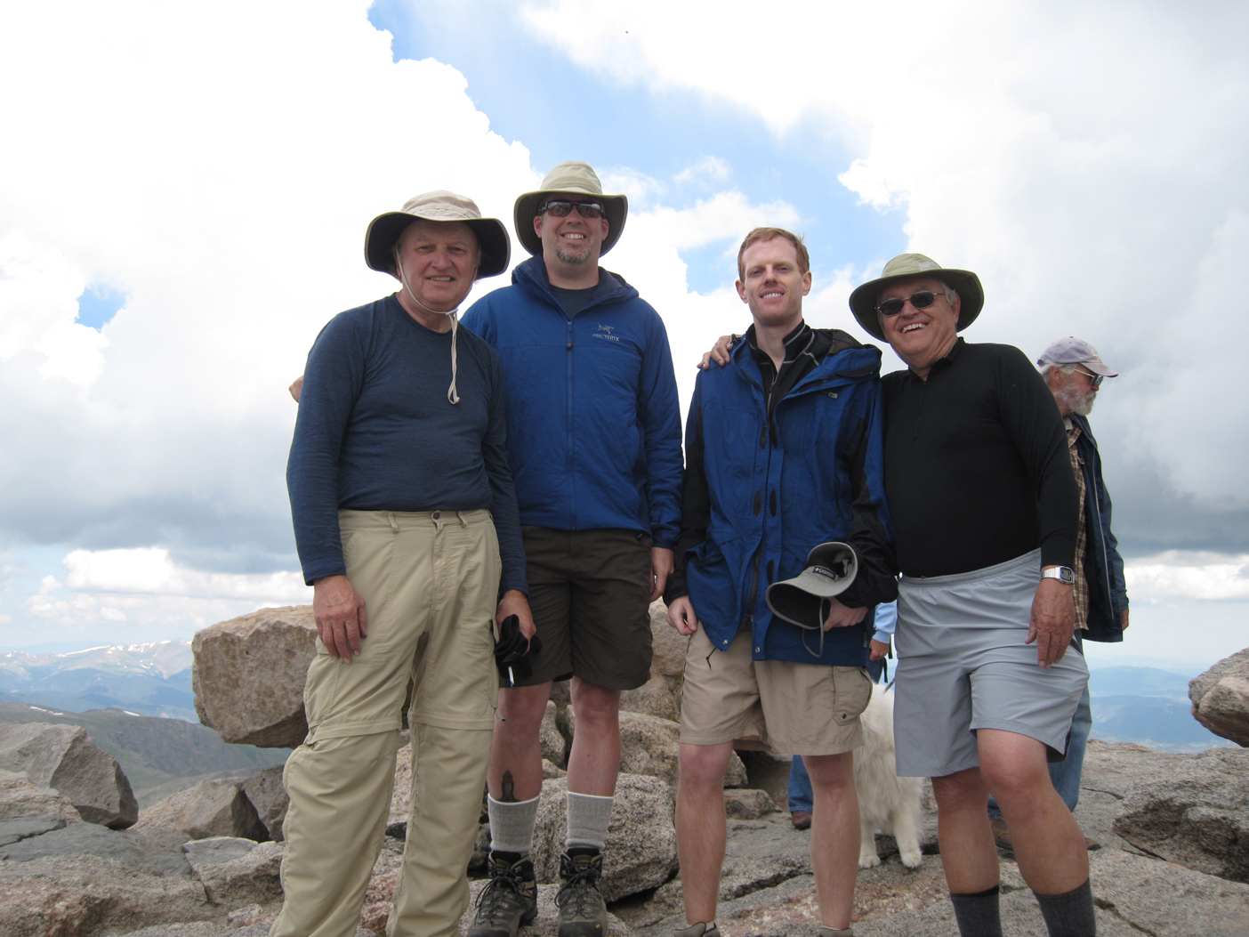 Jerry McDowell, David McDowell, John McDowell and Keith McDowell at the summit of Mount Evans at 14,258 ft.