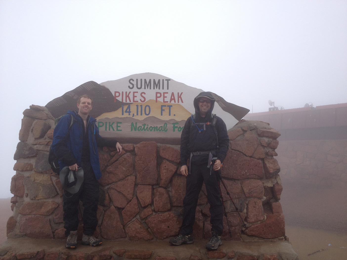 John McDowell and David McDowell on the summit of Pikes Peak at 14,110 ft.