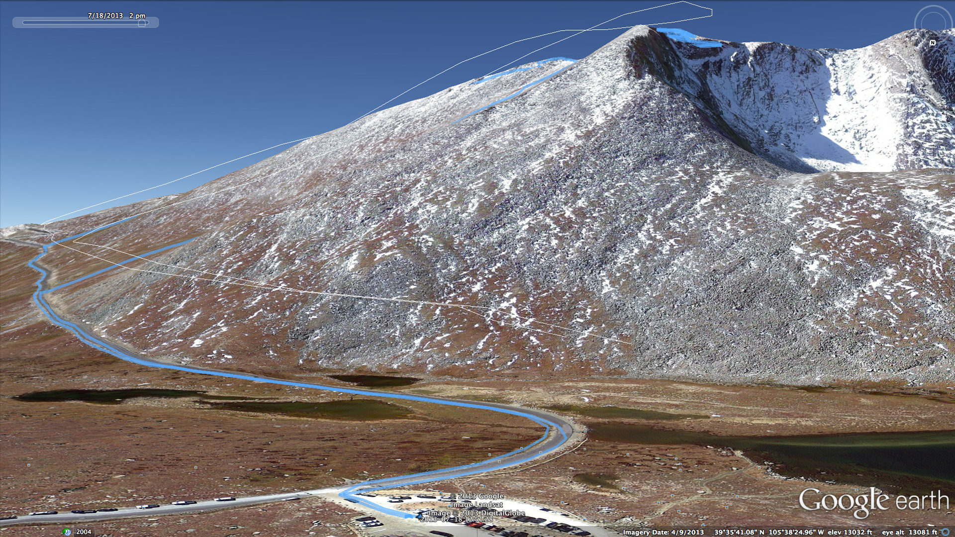 Aerial view of the summit path for Mount Evans