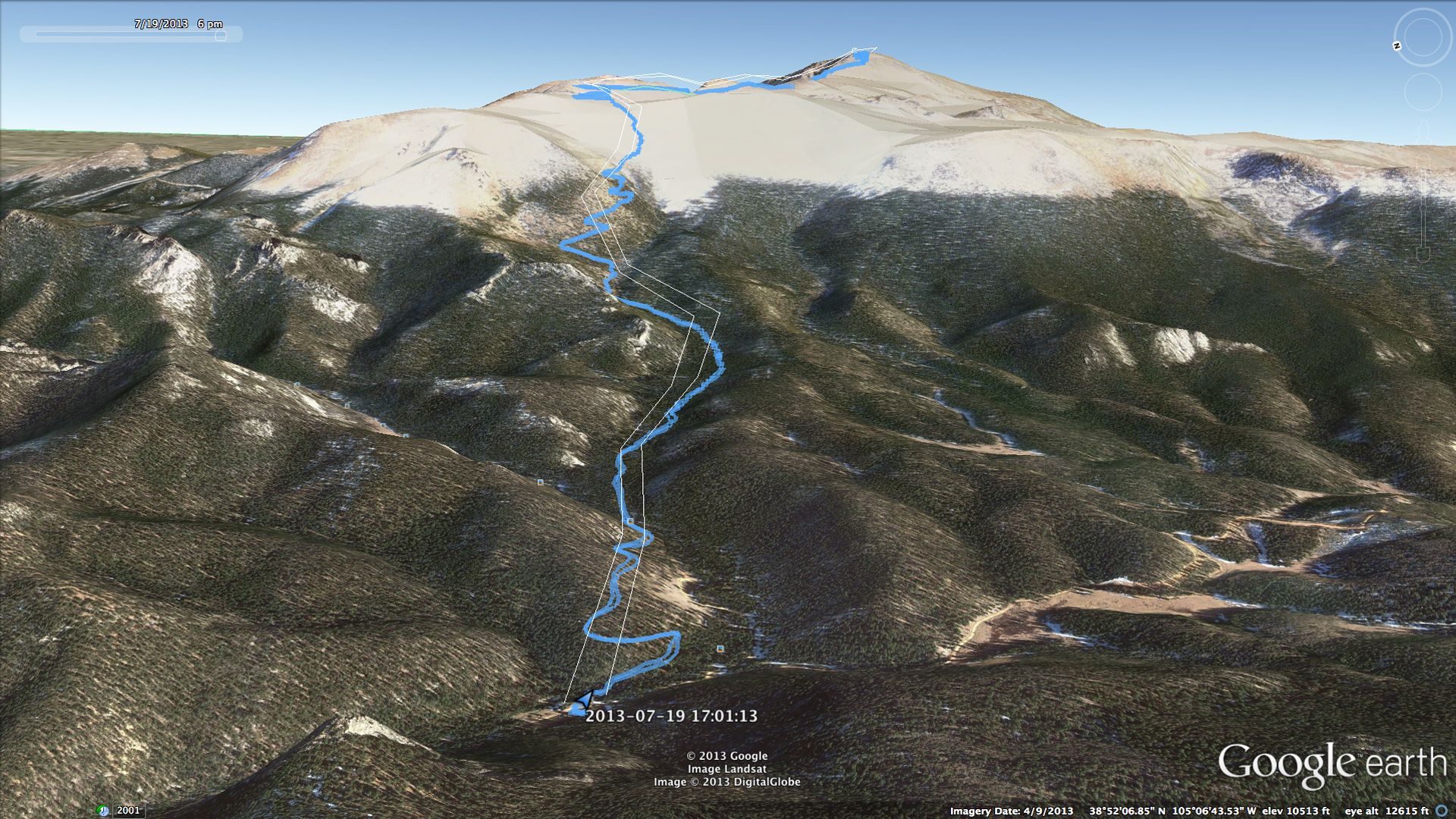 Aerial view of the summit path for Pikes Peak
