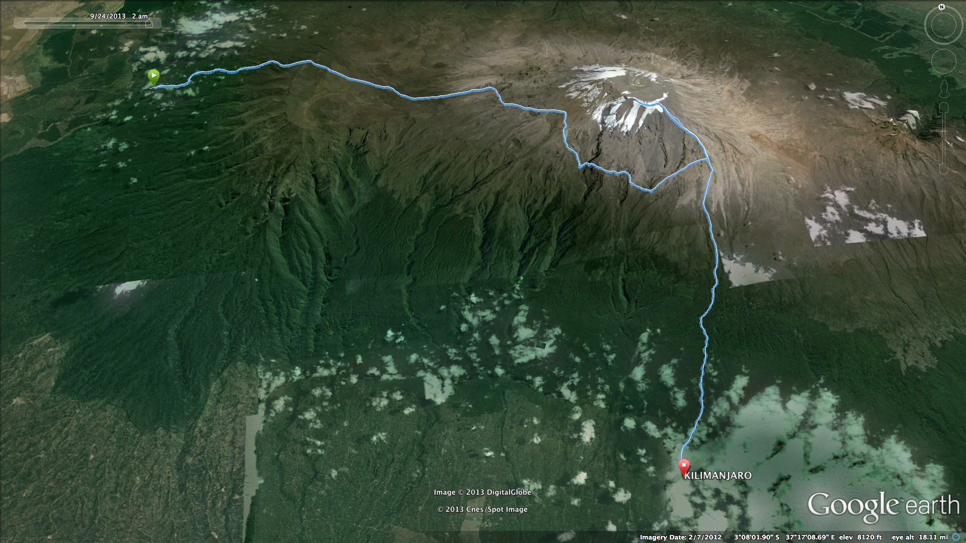 Aerial view of the Lemosho Route for Mt. Kilimanjaro