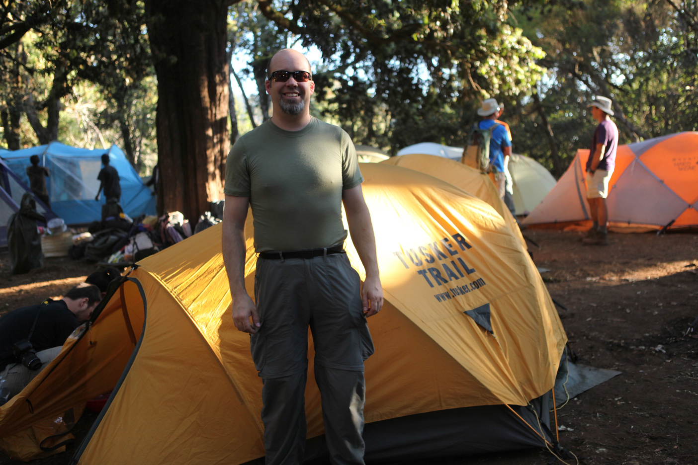 In front of my tent in the Forest Camp