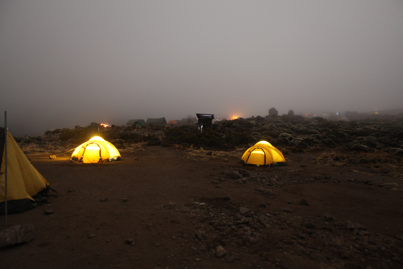 Our tents after dark at the base of the Barranco Wall around 8:30PM.