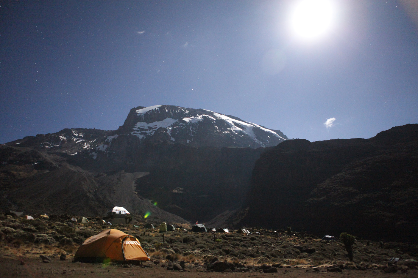A view of the summit from our camp at the base of the Barranco Wall (on the right) around 9:30PM under a full moon.