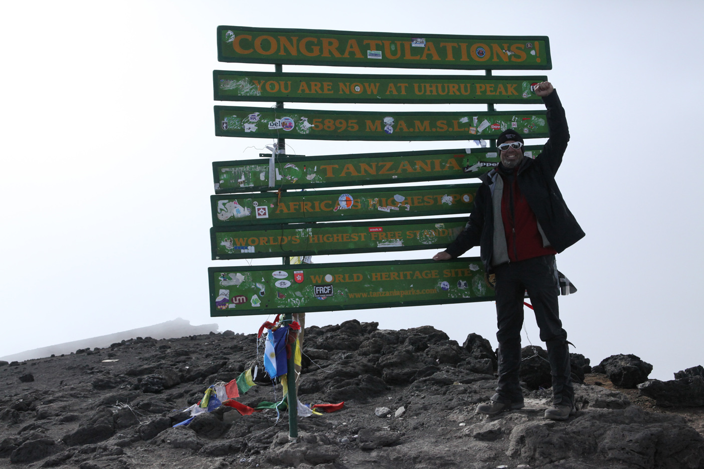David McDowell at the summit of Mt. Kilimanjaro! Elevation 19,340 ft. achieved on September 22, 2013 at 3:20PM