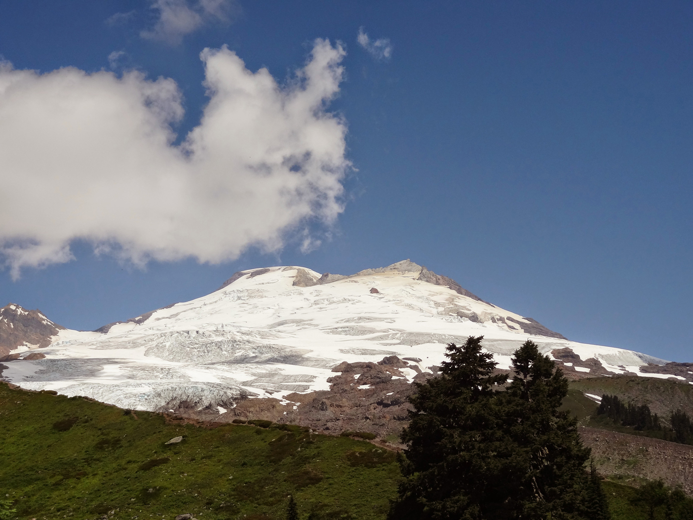 View of Mt. Baker while hiking up Railroad Grade Trail. Photo by Jesica Mangun.