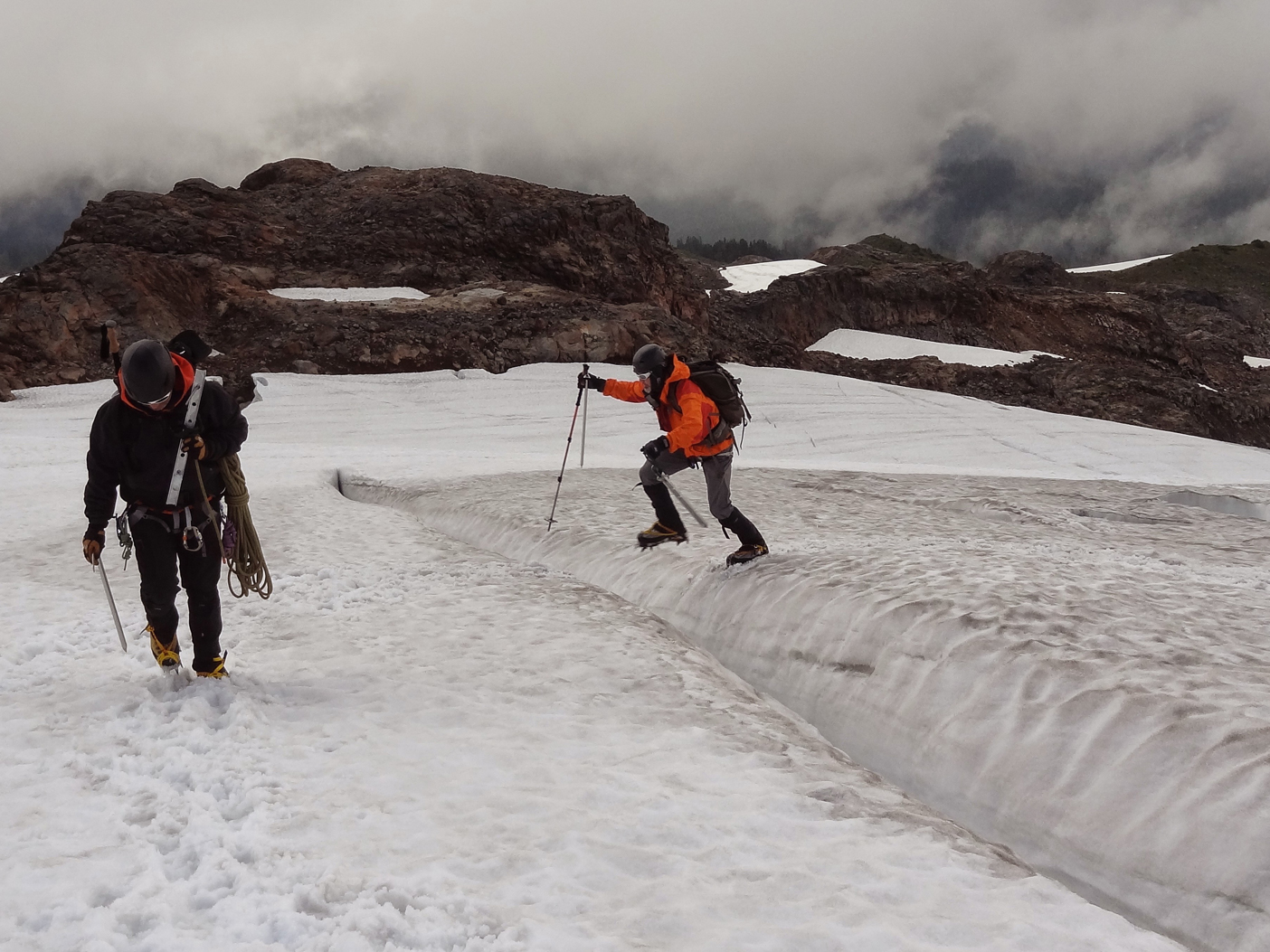 Tomas and I traversing the glacier on the way to our second crack climb site of the day. Photo by Jesica Mangun.