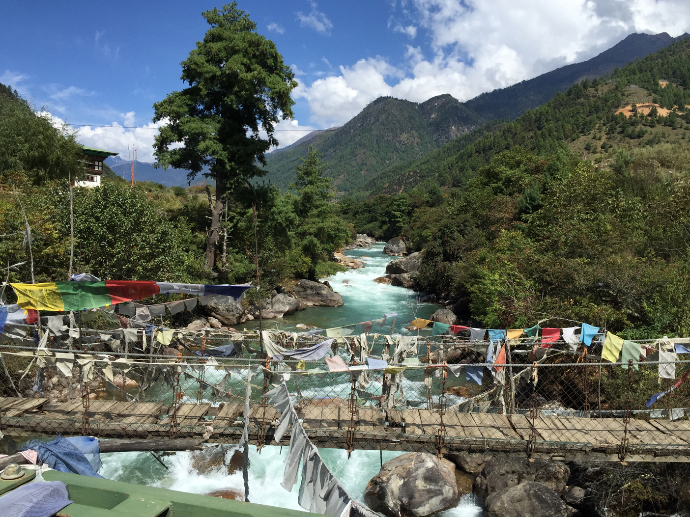 Looking upstream over the Paro River