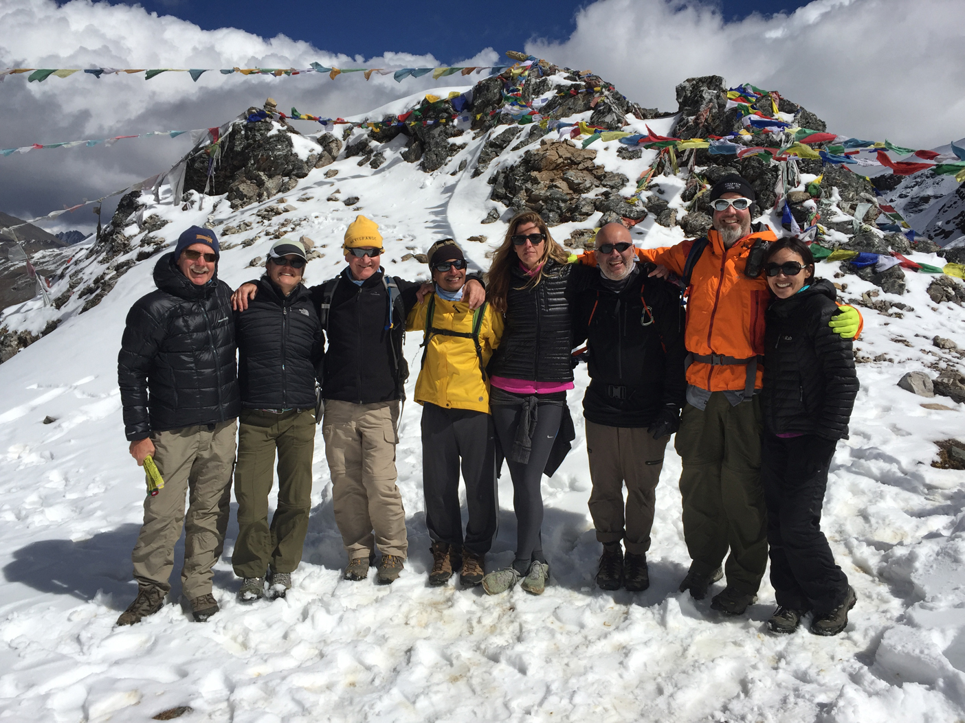 Bonte La Pass, 16,080 ft. (from L to R) Chris, Catherine, Dez, Ayub, Pam, Tomas, David and Mel