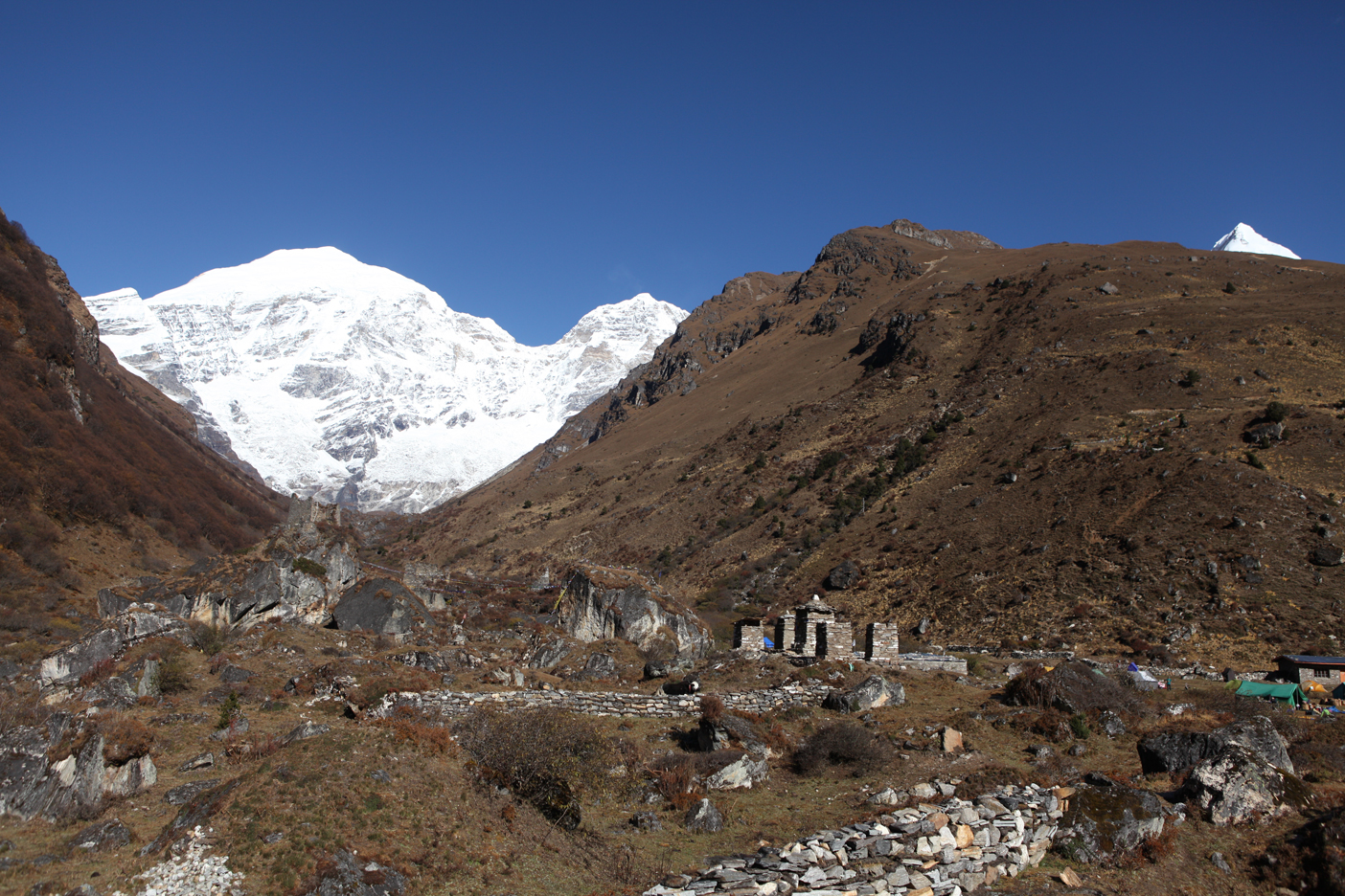 View of Jomolhari (left) and tiny bit of Jitchu Drake (right) from Jomolhari Base Camp