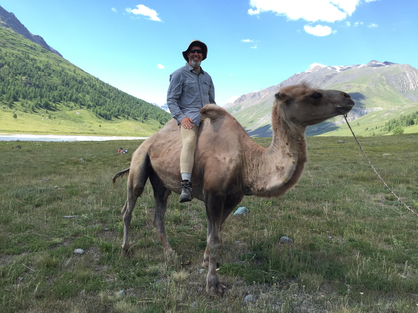 Riding a camel in Mongolia