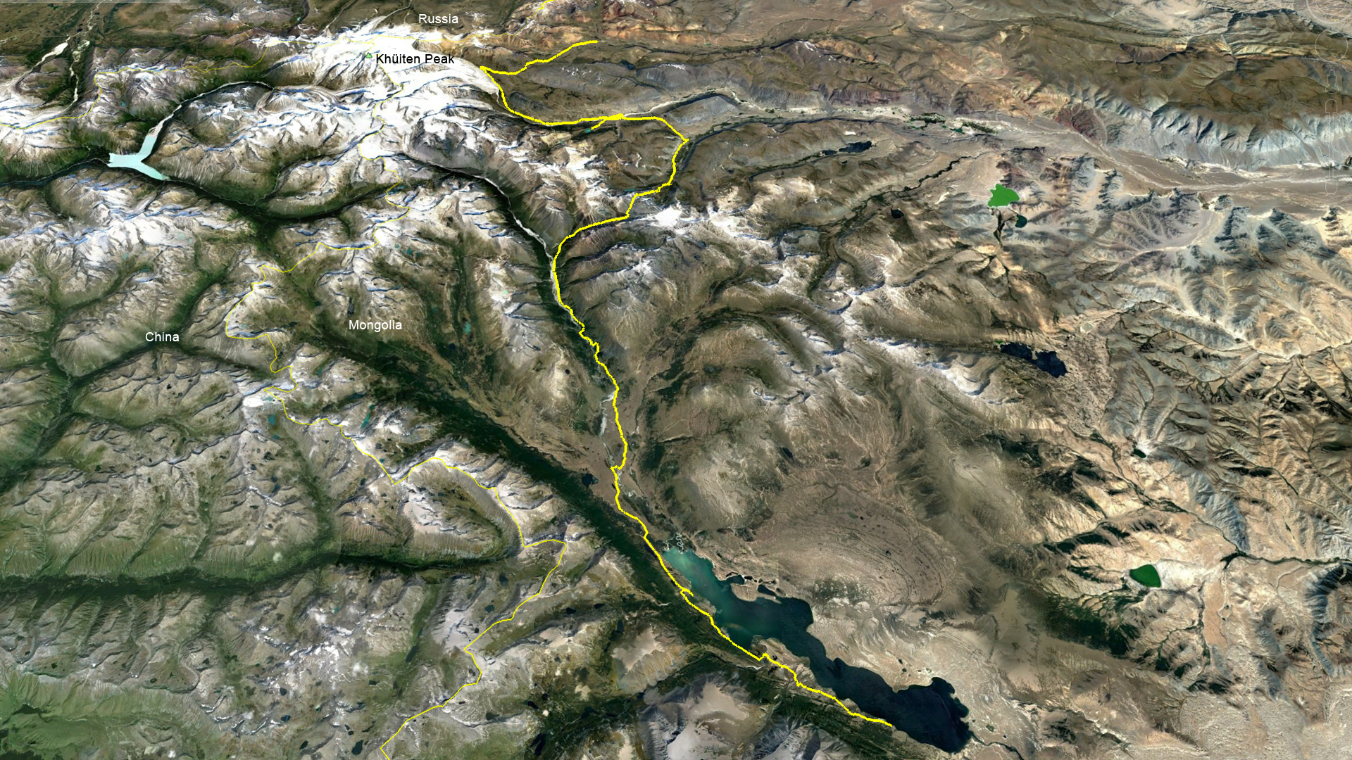 Ariel view of our path through the Altai Tavan Bogd National Park in Mongolia