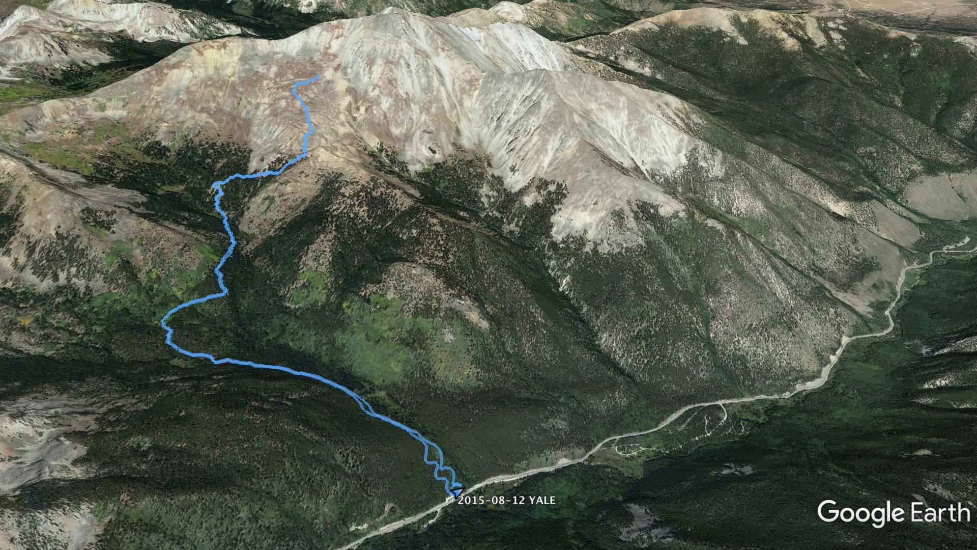 Aerial view of the summit path for Mount Yale