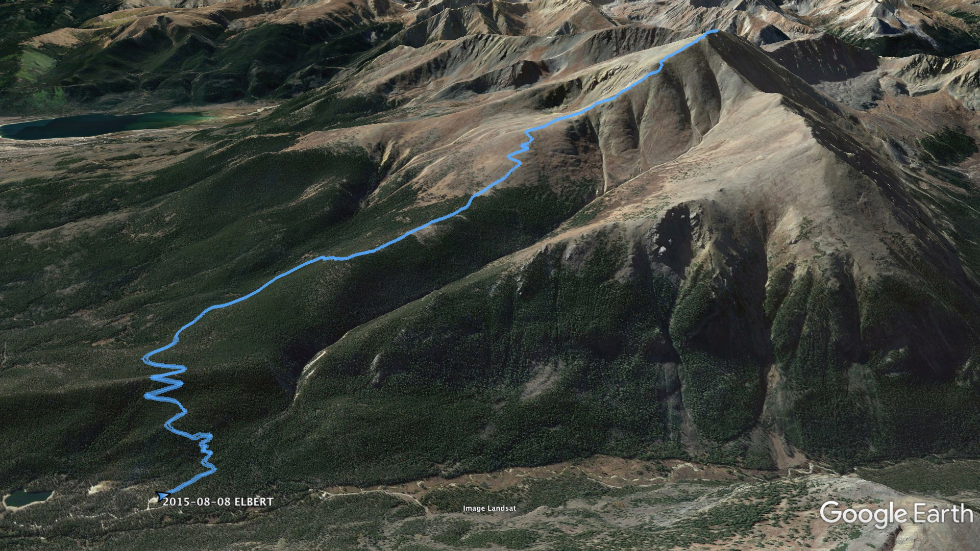 Aerial view of the summit path for Mount Elbert