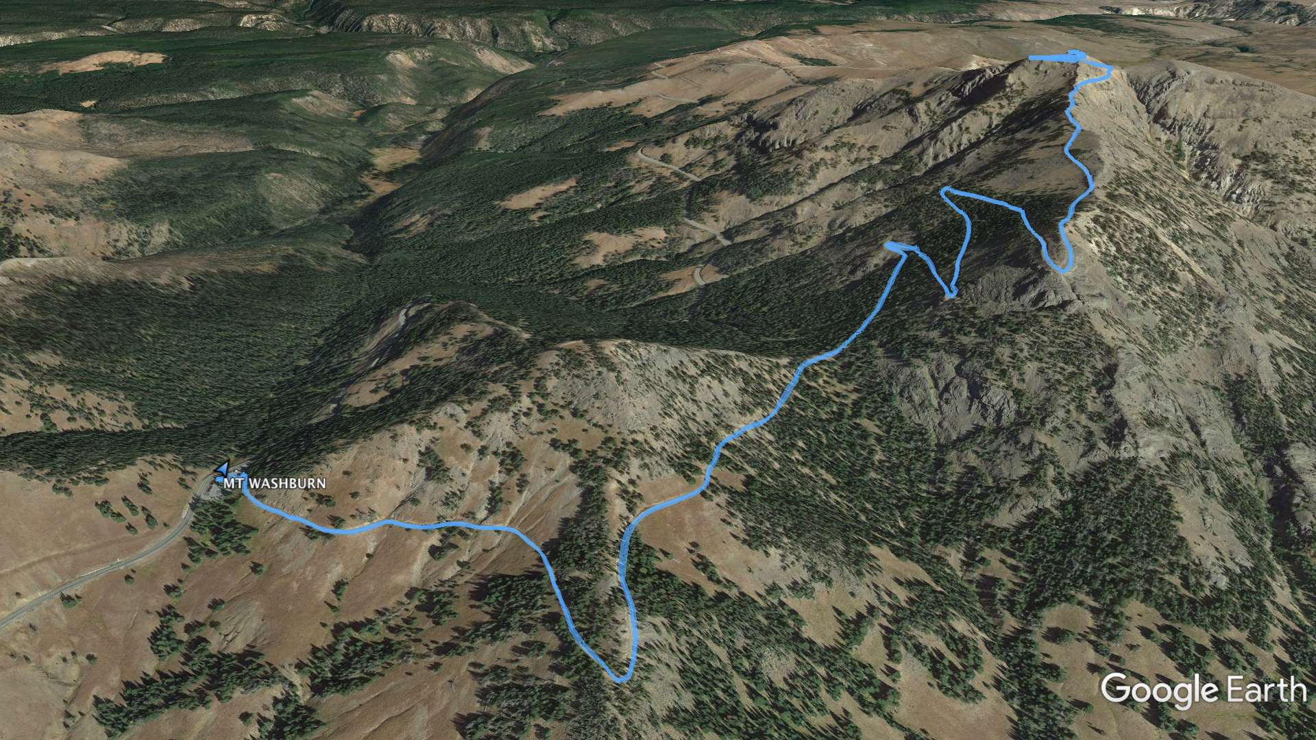 Aerial view of the summit path for Mt. Washburn in Yellowstone.