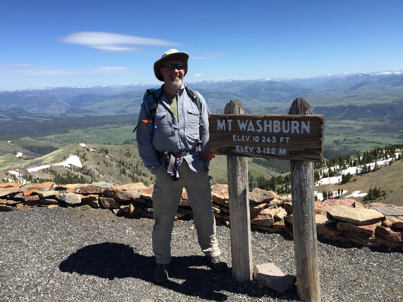 Me on the summit of Mt. Washburn in Yellowstone National Park.